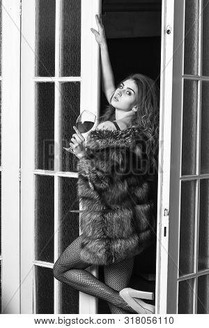 Girl Enter Bedroom Doors. Fashion Lady Enjoy Her Seductiveness. Woman Seductive Appearance. Woman Se