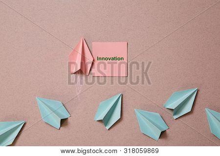 Business Original Idea, Individuality And Creativity. Success And Motivation Concept. Origami Plane