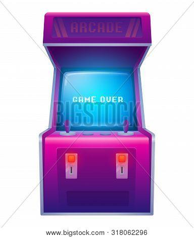 Arcade Machine. Retro Arcade Game Machine. Isolated Vector Illustration.