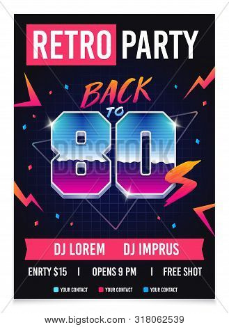 Retro Party 80s Style, Promo Poster, 1980s Retro Flyer. Back To 80s Vector Illustration.