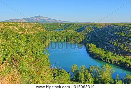 Aerial View Of The Brljan Lake Located Downstream Of Bilusic Buk On The Exit From Canyon Of Krka Riv