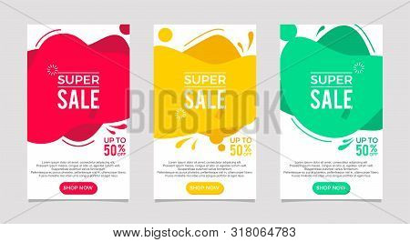 Dynamic Modern Fluid For Sale Banners Set. Sale Banner Template Design, Super Sale Special Offer