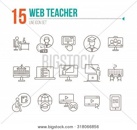 Web Teacher Line Icon Set. Student, Online Class, E-learning. Lesson Concept. Can Be Used For Topics