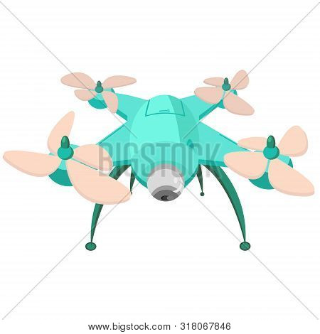 Drone With The Camera. Modern Technology. Copter With Goods Flying In The Air. Quadcopter-courier, M