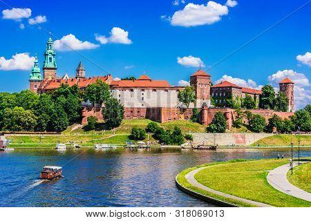 Krakow, Pol - Jul 25, 2019: View Of Wawel Castle In Krakow, Poland
