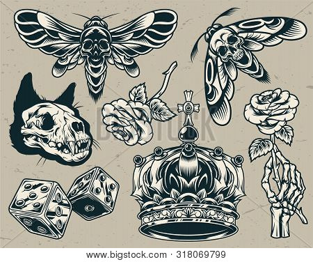 Vintage Monochrome Tattoos Set With Cat Skull Royal Crown Scary Dices Skeleton Hand Holding Rose Sca