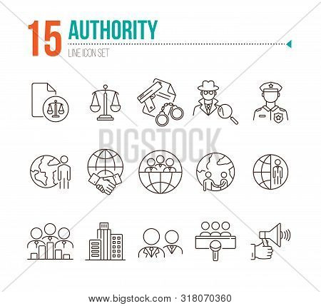 Authority Line Icon Set. Police Officer, Detective, Globe, Handshake. Authority Concept. Can Be Used