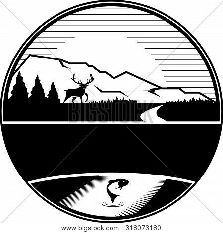 Outdoor Camping Adventure Hunting And Fishing Mountain Badge Logo Emblem