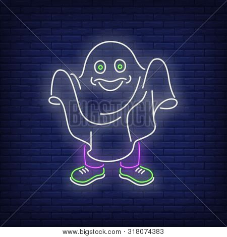 Person Wearing White Sheet And Pretending To Be Ghost Neon Sign. Halloween Party, Fear Design. Night