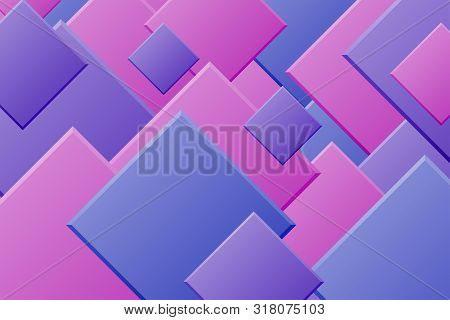 Blue purple paper cut background. Abstract realistic layered papercut decoration textured with squares pattern. 3d backdrop. Vector illustration. Cover layout template. Material design concept poster