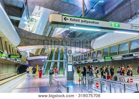 Interior Of Kalvin Ter Metro Station In Budapest, Hungary