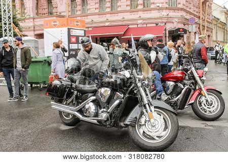 St. Petersburg, Russia - 3 August, A Group Of Bikers Are About To Leave, 3 August, 2019. The Annual