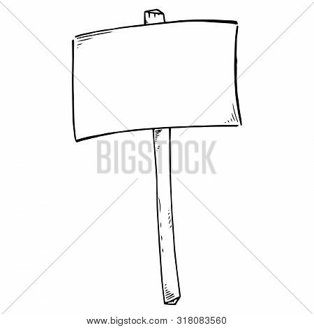 Empty Banner. Transparency Without Text. Banner On A Wooden Hilt. Simple Hand Drawn Icon. Vector Ill