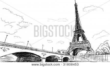 Parisian streets -Eiffel Tower illustration poster