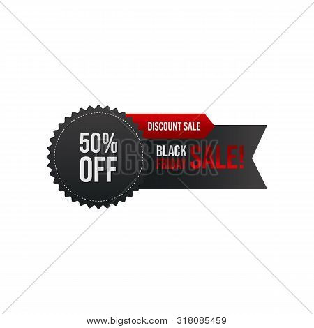 Black Friday Promotion Sale Banner Or Tag With Black And Red Color