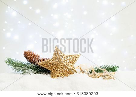 White Christmas With Snow - Evergreen Twigs And Christmas Star With Lights In Background