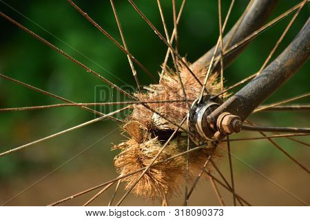 Bicycle Spoke Detail Isolated Background. Used Motion Blurr For Simulated Motion Wheel.