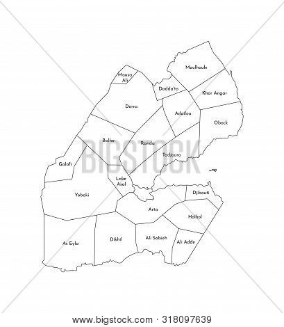 Vector Isolated Illustration Of Simplified Administrative Map Of Djibouti. Borders And Names Of The