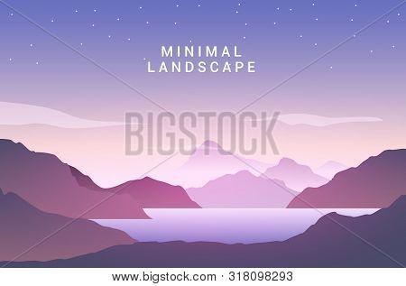 Landscape Sunset Flat Background. Nature Sky, Mountain Scene, Summer Lake Sunset Landscape Travel De