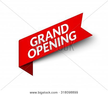 Grand Opening Red Ribbon Banner Sign. Vector Sale Icon. Opening Sale