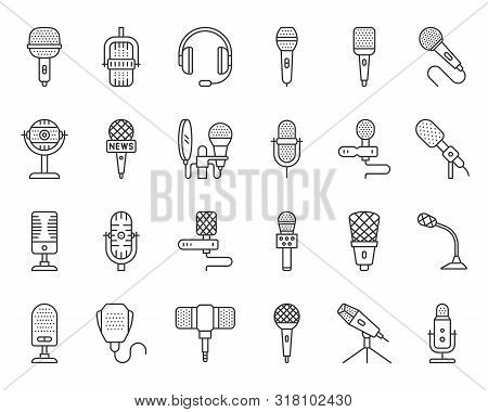 Microphone Thin Line Icon Set. Outline Web Sign Kit Of Mic. Journalist Interview Linear Icons Of Mus