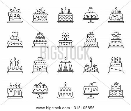 Cake Dessert Thin Line Icon Set. Outline Web Sign Kit Of Sweet Food. Birthday Party Linear Icons Of