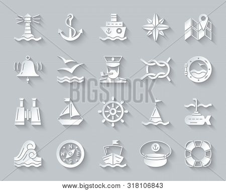 Marine Paper Cut Art Icons Set. 3d Sign Kit Of Nautical. Sea Knot Pictogram Collection Includes Life