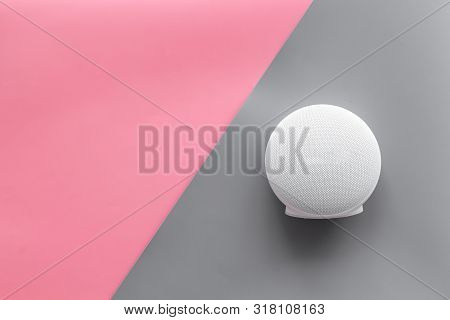 Portable Wireless Speakers For Music Listening On Pink And Gray Background Top View Mockup