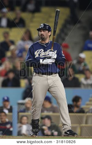 LOS ANGELES - SEP 22: San Diego Padres 1B #23 Adrian Gonzalez during the Padres vs. Dodgers game on Sep 22 2010 at Dodgers Stadium.