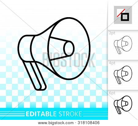 Megaphone Thin Line Icon. Outline Loud Speaker Sign. Bullhorn Linear Pictogram With Different Stroke