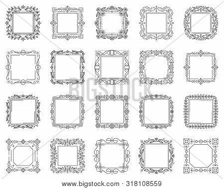 Text Square Frame Thin Line Set. Outline Sign Kit Of Border Ornament. Linear Decorative Monogram Tem
