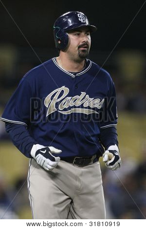 LOS ANGELES - SEP 23: San Diego Padres 1B #23 Adrian Gonzalez during the Padres vs. Dodgers game on Sept 23 2010 at Dodgers Stadium.