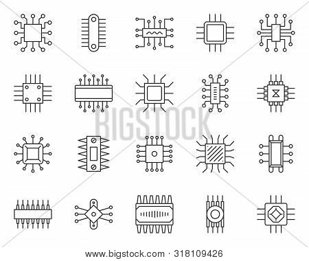 Micro Chip Thin Line Icon Set. Outline Sign Kit Of Cpu. Pc Component Linear Icons Of Abstract Circui