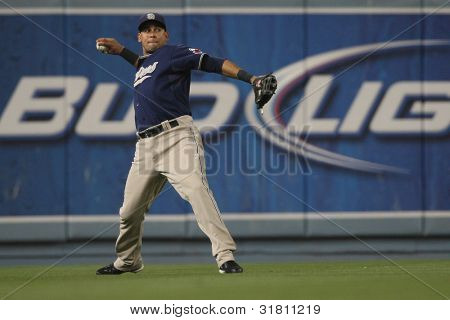 LOS ANGELES - SEP 22: San Diego Padres LF #14 Oscar Salazari during the Padres vs. Dodgers game on Sep 22 2010 at Dodgers Stadium.