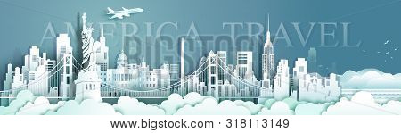 Travel Panorama View Landmarks United States Of America Famous Monument Architecture Skyline, Tour L