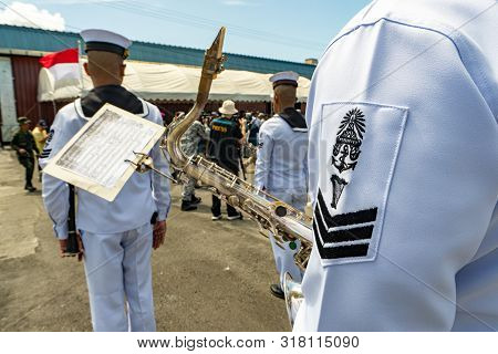 Chonburi, Thailand - August 15, 2019 : Royal Thai Navy Marching Band Prepare To Play Music During 20