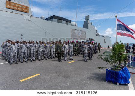 Chonburi, Thailand - August 15, 2019: The 20th Sea Garuda  2019 Bilateral Naval Exercise Opening Cer