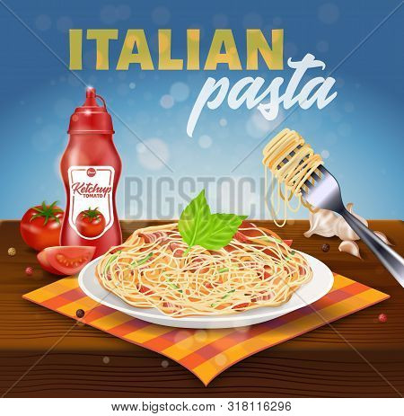 Italian Pasta Square Banner. Plate With Spaghetti Covered With Bacon, Tomato Slices, Basil Stand On