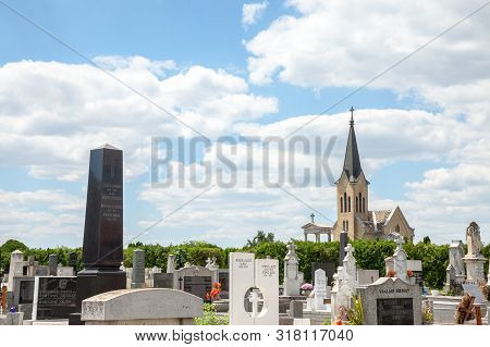 Subotica, Serbia - July 1, 2018: Catholic Cemetery Of Subotica, In Serbia, On The Hungarian Border,