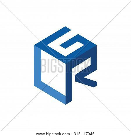 G L R Initial Letter Three Dimension Logo Vector Element