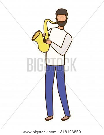 Young Man With Saxophone On White Background Vector Illustration Design