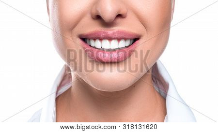 Close Up Photo Of A Woman Smile On White Background.