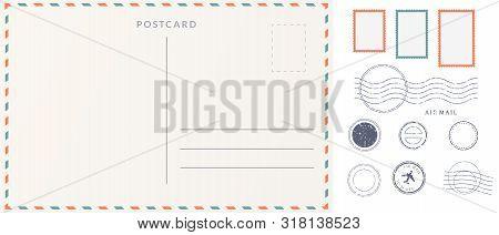 Elements For Empty Postcard Back. Postage Stamps And Imprints. Travel Card Design Set.