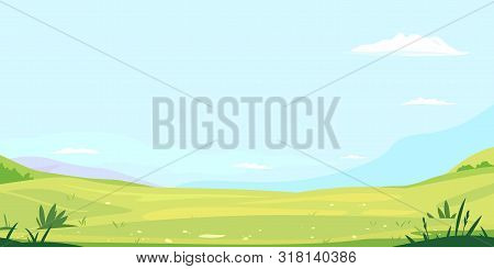 Green Meadow With Grass Against Blue Sky With White Clouds, Summer Sunny Glades With Field Grasses A
