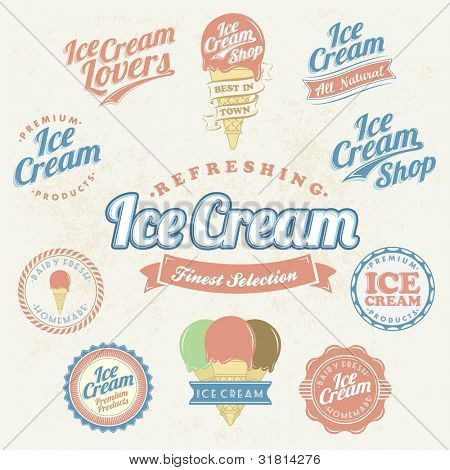 Retro Ice Cream Label And Vintage Set