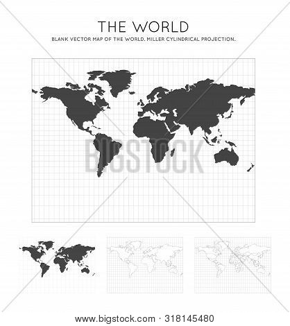 Map Of The World. Miller Cylindrical Projection. Globe With Latitude And Longitude Lines. World Map