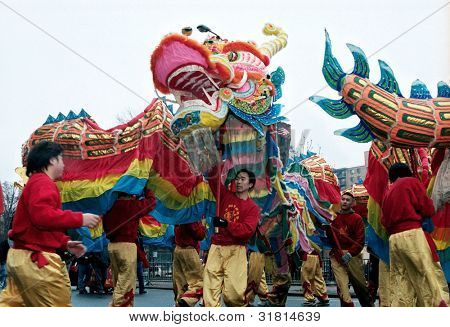 FLUSHING, NY - JANUARY 24: A dragon dance team performs at a Chinese New Year parade on January 24, 2001 in Flushing, NY.