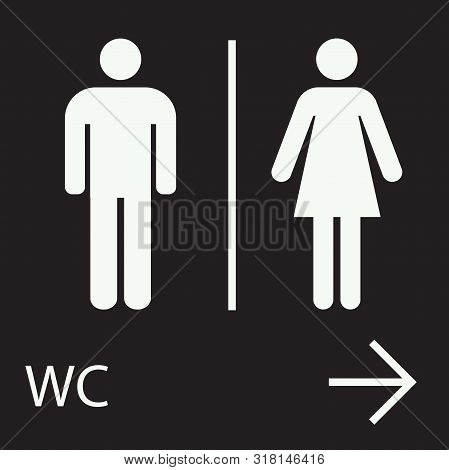 Wc Toilet Vector Men And Women Restroom Arrow Sign- Perfect For Icon,symbol And Sign