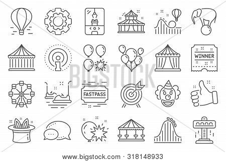 Amusement Park Line Icons. Set Of Carousel, Roller Coaster And Circus Icons. Air Balloon, Crane Claw