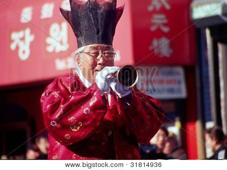FLUSHING, NY - JANUARY 24: A musician celebrates Chinese New Year on January 24, 2001 in Flushing, NY.
